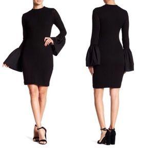 CAD Black Bell Sleeve Bodycon Dress XS